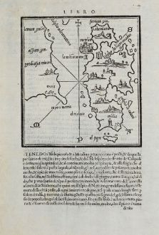 Antique Maps, Bordone, Greece, Aegean, Lesbos, Troy, Asia Minor, 1528-1565: Metelin, Troia, Malia, S. Theodoro