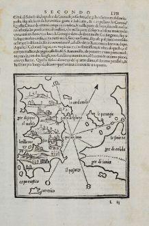 Antike Landkarten, Bordone, Griechenland, Ägäis, Chios, Psara, Kleinasien: Sio