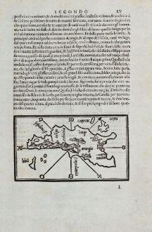 Antique Maps, Bordone, Greece, Aegean Sea, Fournoi, Leipsoi, Kos, 1528-1565: Lango, Colipo, Molini, Arangia, Fornoli, Lipso, Crusia, Mandria