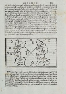 Antique Maps, Bordone, Greece, Aegean Sea, Chalki, Alimia, Tilos, 1528-1565: Limonia, Carchi, S. Nicolo, Episcopia