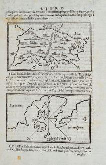 Antique Maps, Bordone, Greece, Aegean Sea, Rhodes, Symi, Nimos, Asia Minor: Rhodo, Simie, Scogi di S. Paulo, Asia minore