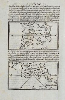 Antique Maps, Bordone, Greece, Aegean, Kalymnos, Astypalaia, Leros, Patmos: Calomio, Calamo, Stampalia, S. ioane de Palmosa, Iero, Lepida, Feraco