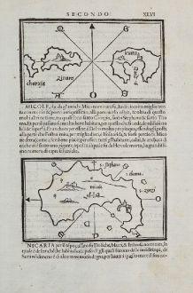 Antike Landkarten, Bordone, Griechenland, Ägäis, Kinaros, Levitha, Icaria, Myconos: Charuja, Zinara, Leuita, Micole, Nicaria