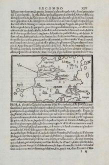 Antike Landkarten, Bordone, Griechenland, Ägäis, Kykladen, Naxos, 1528-1565: Nixia, Melatio, Policandro, Cardia, SicinoHeraclia, Chiero, Pyra