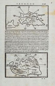 Antique Maps, Bordone, Greece, Aegean Sea, Paros, Antiparos, Amorgos, Ios: Nio, Cardiaci, Pario, Antipario, Amurgo