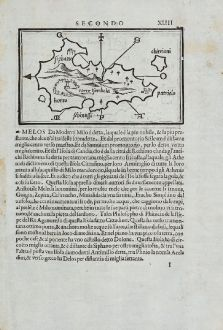 Antique Maps, Bordone, Greece, Aegean Sea, Siphnos, Milos, 1528-1565: Siphano, Horto, Torre Isambola, Milo, Salina, Antimilo