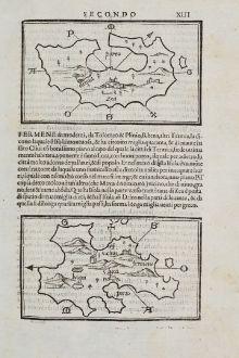 Antique Maps, Bordone, Greece, Aegean Sea, Kea, Kythnos, 1528-1565: Zea, Fermene