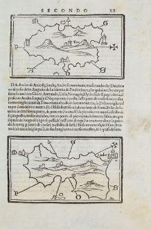 Antique Maps, Bordone, Greece, Aegean Sea, Andros, Tinos, 1528-1565: Tino, Andro
