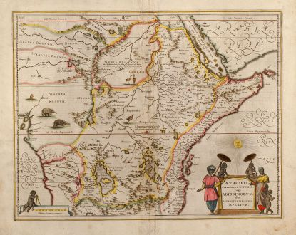Antique Maps, Janssonius, Ethiopia, 1635: Aethiopia Superior vel Interior vulgo Abissinorum sive Presbiteri Ioannis Imperium