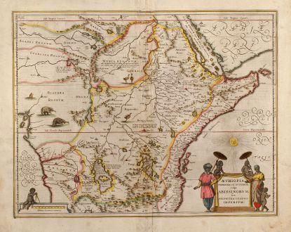 Antike Landkarten, Janssonius, Ostafrika, Aethiopien, 1635: Aethiopia Superior vel Interior vulgo Abissinorum sive Presbiteri Ioannis Imperium