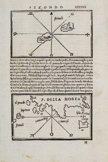 Antique Maps, Bordone, Greece, Peloponnes, Sapienza, Strofades, Cythera: P. Della Morea, cerigo, striuali