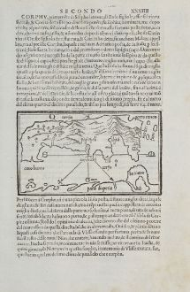 Antique Maps, Bordone, Greece, Corfu, Paxos, 1528-1565: Corfu, Pacsu