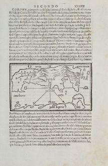 Antike Landkarten, Bordone, Griechenland, Korfu, Paxos, 1528-1565: Corfu, Pacsu