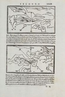 Antike Landkarten, Bordone, Balkan, Adria, Dalmatien, Hvar, Korcula, Tremiti: Liezena, Curzola, S. ma de Tremidi