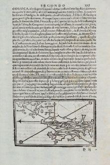 Antique Maps, Bordone, France, Corse, Corsica, 1528-1565: Corsica, Palmosa