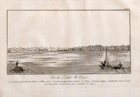 Antique Maps, Norden, Egypt, Nile River, Ships, 1795: Vue de Tschibel Ell Deur