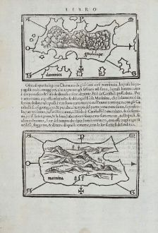 Antique Maps, Bordone, Central America - Caribbean, Guadeloupe, Martinique: [Lesser Antilles, West Indies] Guadalupe, Dominica, Matinina