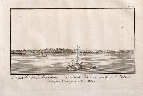 Antique Maps, Norden, Egypt, Nile River, Ships, 1795: Prospect de l'Isle de Methaghera, et da la Fôret de Palmiers de trois lieues de longueur