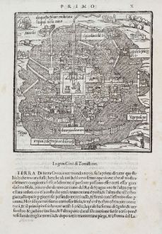 Antique Maps, Bordone, Central America - Caribbean, Mexico City, Tenochtitlan: La Gran Ciudad di Temistitan