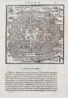 Antike Landkarten, Bordone, Mittelamerika - Karibik, Mexiko-Stadt, Tenochtitlan: La Gran Ciudad di Temistitan