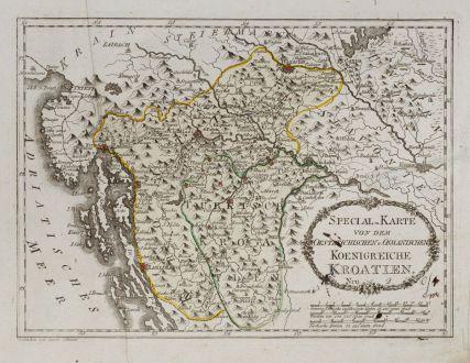 Antike Landkarten, von Reilly, Balkan, Kroatien, 1791: Special-Karte von dem Oestreichischen u. Osmanischen Koenigreiche Kroatien.
