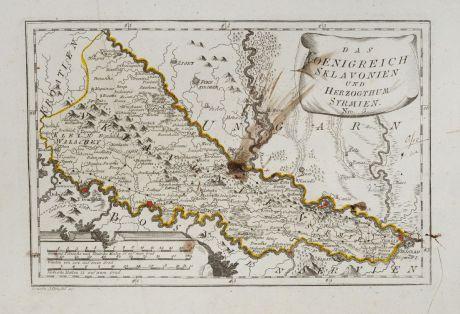 Antike Landkarten, von Reilly, Balkan, Slowenien, 1791: Das Koenigreich Sklavonien und Herzogthum Syrmien.