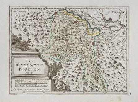 Antike Landkarten, von Reilly, Balkan, Bosnien, 1791: Das Koenigreich Bosnien.