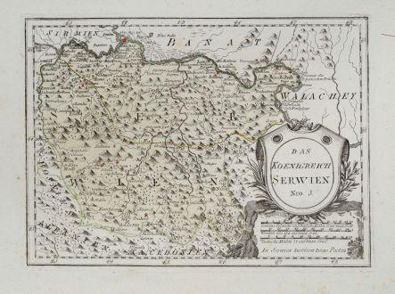 Antike Landkarten, von Reilly, Balkan, Serbien, 1791: Das Koenigreich Serwien.