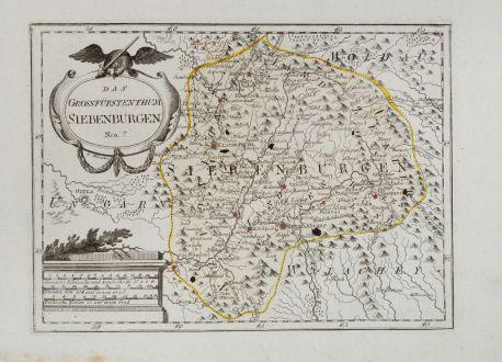 Antike Landkarten, von Reilly, Rumänien - Moldawien, Siebenbürgen, Transsilvanien: Das Grossfürstenthum Siebenbürgen.