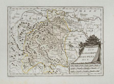 Antike Landkarten, von Reilly, Ukraine, Buchenland, Bukowina, 1791: Die Landschaft Bukowina.
