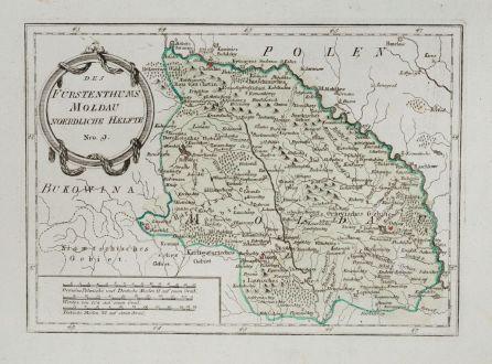 Antike Landkarten, von Reilly, Rumänien - Moldawien, Moldova, Moldau, 1791: Des Fürstenthums Moldau Noerdliche Haelfte
