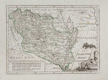 Antike Landkarten, von Reilly, Rumänien - Moldawien, Moldova, Moldau, 1791: Des Fürstenthums Moldau Südliche Haelfte