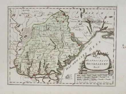 Antique Maps, von Reilly, Ukraine, Odessa, Bessarabia, 1791: Die Landschaft Bessarabien