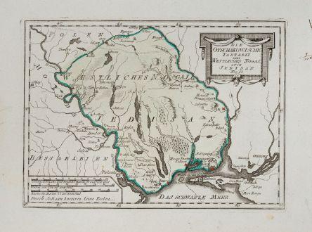 Antike Landkarten, von Reilly, Ukraine, Odessa, Jedisan, 1791: Die Otschakowische Tartarey oder Westliches Nogaj, auch Jedisan