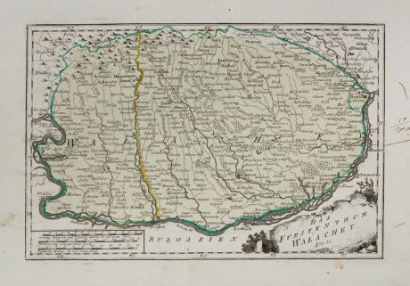 Antique Maps, von Reilly, Romania - Moldavia, Wallachia, 1791: Das Fürstenthum Walachey