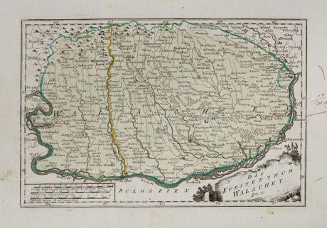 Antike Landkarten, von Reilly, Rumänien - Moldawien, Walachei, 1791: Das Fürstenthum Walachey