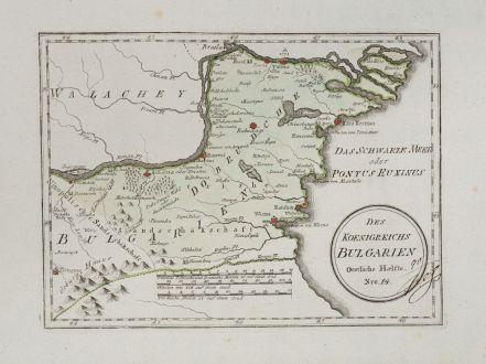 Antike Landkarten, von Reilly, Rumänien - Moldawien, Bulgarien, 1791: Des Koenigreichs Bulgarien Oestliche Haelfte