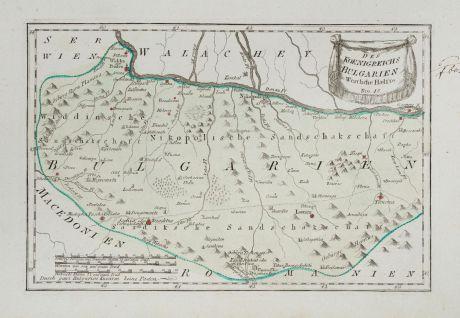 Antike Landkarten, von Reilly, Rumänien - Moldawien, Bulgarien, 1791: Des Koenigreichs Bulgarien Westliche Haelfte
