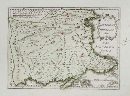 Antike Landkarten, von Reilly, Türkei, Bulgarien, 1791: Die Landschaft Romanien
