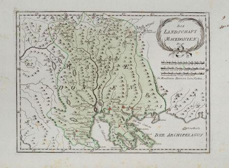 Antique Maps, von Reilly, Greece, Macedonia, 1791: Die Landschaft Macedonien