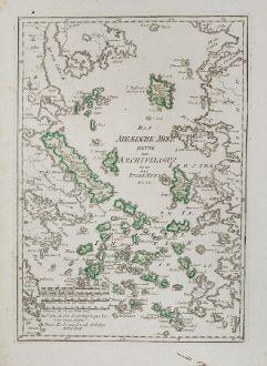 Antique Maps, von Reilly, Greece, Aegean Sea, Aigaio Pelagos, 1791: Das Aegaeische Meer Heute der Archipelagus oder das Insel-Meer