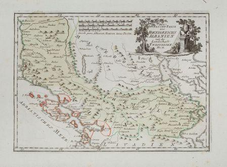 Antike Landkarten, von Reilly, Balkan, Korfu, Albanien, Mazedonien, Makedonien: Der Suedliche Theil des Koenigreichs Albanien mit der Landschaft Thessalien.