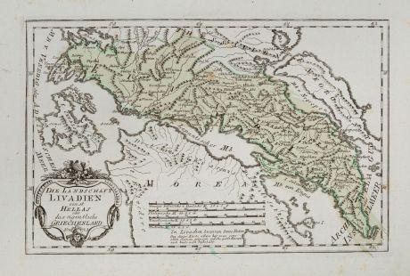Antike Landkarten, von Reilly, Griechenland, 1791: Die Landschaft Livadien einst Hellas oder das eigentliche Griechenland