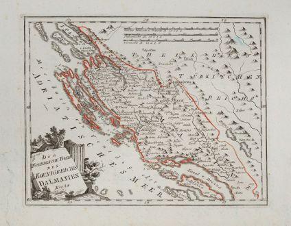 Antike Landkarten, von Reilly, Balkan, Dalmatien, Kroatien, 1791: Der noerdliche Theil des Koenigreichs Dalmatien