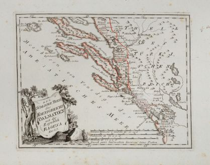 Antique Maps, von Reilly, Balkan, Dalmatia, Croatia, 1791: Der südliche Theil des Koenigreichs Dalmatien mit der Republik Ragusa