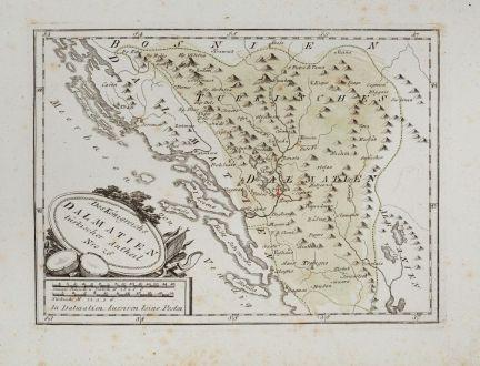 Antike Landkarten, von Reilly, Balkan, Dalmatien, Herzegowina, 1791: Des Koenigreichs Dalmatien türkischer Antheil