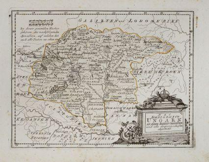 Antike Landkarten, von Reilly, Österreich - Ungarn, 1791: Das Koenigreich Ungarn in seine zehen Gebiethe und alle Gespannschaften abgetheilt.