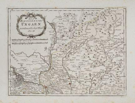 Antike Landkarten, von Reilly, Österreich - Ungarn, 1791: Des Königreichs Ungarn nordwestlicher Theil