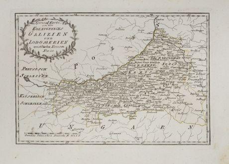 Antike Landkarten, von Reilly, Polen, Galizien, 1791: Spezial Karte von des Koenigreichs Galizien und Lodomerien westlichen Kreisen.