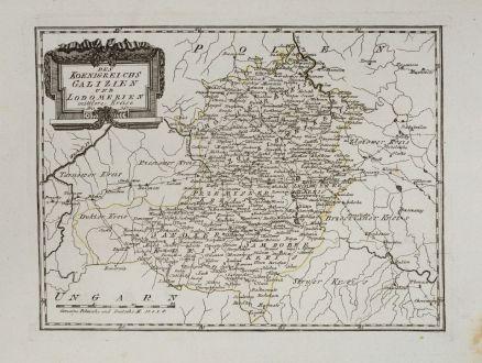 Antike Landkarten, von Reilly, Polen, Galizien, 1791: Des Koenigreichs Galizien und Lodomerien mittlere Kreise.